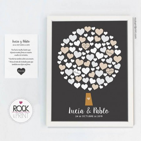 Cuadro firmas corazones boda