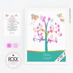 Árbol huellas mariposa colores comunión