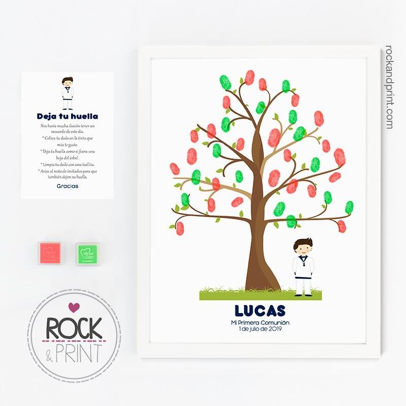Árbol huellas Comunión niño