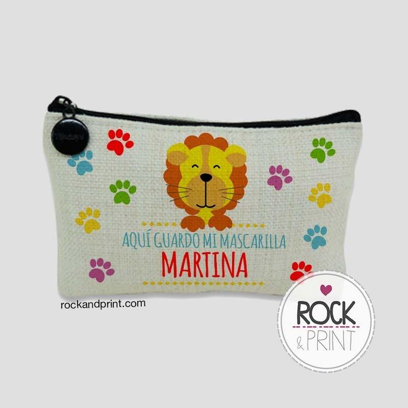 Funda mascarilla infantil león animales